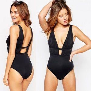 ASOS Plunge Ruche Swimsuit Black